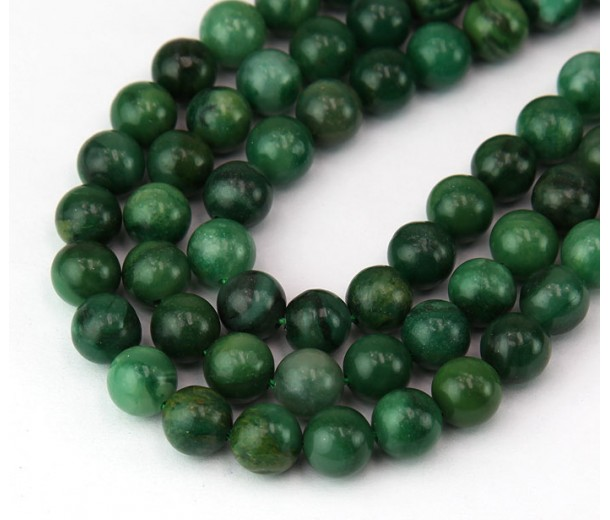 African Jade Beads, Natural, Dark Green, 8mm Round