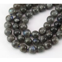 Labradorite Beads, Dark Grey, 8mm Round