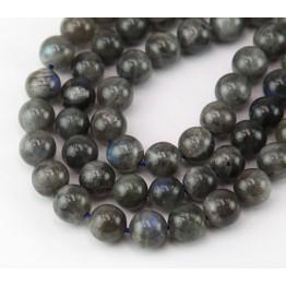 Labradorite Beads, Dark Grey, 8mm Round