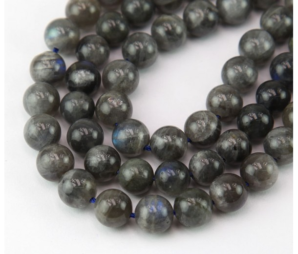 Labradorite Beads, Natural, Dark Grey, 8mm Round