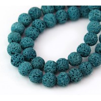 Lava Rock Beads, Teal Blue, 8mm Round