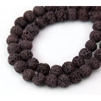 Lava Rock Beads, Dark Rose Brown, 8mm Round
