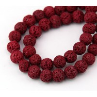 Lava Rock Beads, Cherry Red, 8mm Round