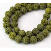 Lava Rock Beads, Yellow Green, 8mm Round