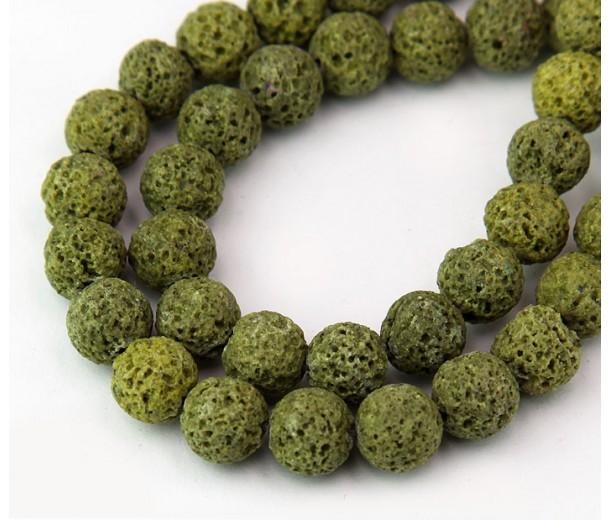 Lava Rock Beads, Yellow Green, 8mm Round