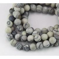 Matte Netstone Beads, 8mm Round