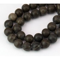 Woodgrain Marble Beads, Grey and Brown, 10mm Round