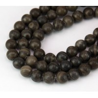 Woodgrain Marble Beads, Grey and Brown, 8mm Round