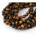 Tiger Eye Beads, Natural, 4mm Round, 15 Inch Strand