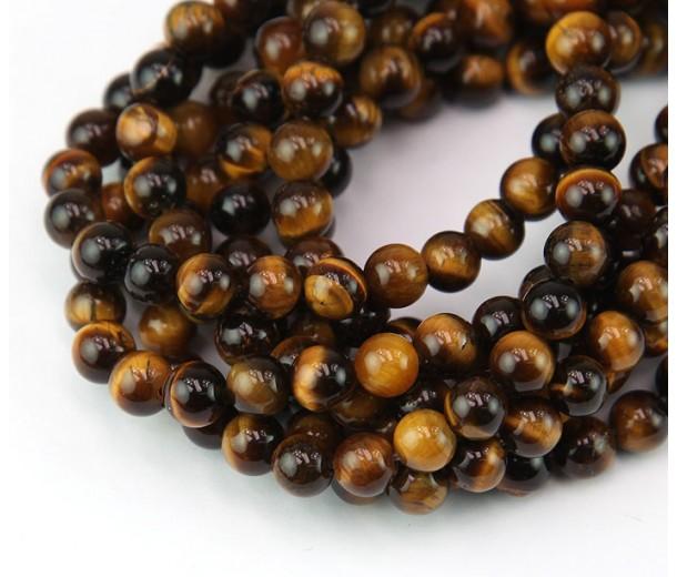 Tiger Eye Beads, Natural, 4mm Round
