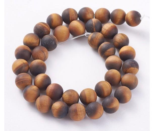 Matte Tiger Eye Beads, Natural, 12mm Round