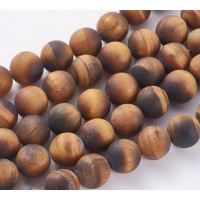Matte Tiger Eye Beads, Natural, 12mm Round