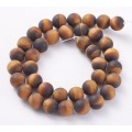 Matte Tiger Eye Beads, Natural, 12mm Round, 15 Inch Strand
