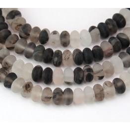 Matte Imitation Tourmalinated Quartz Beads, 5x8mm Smooth Rondelle
