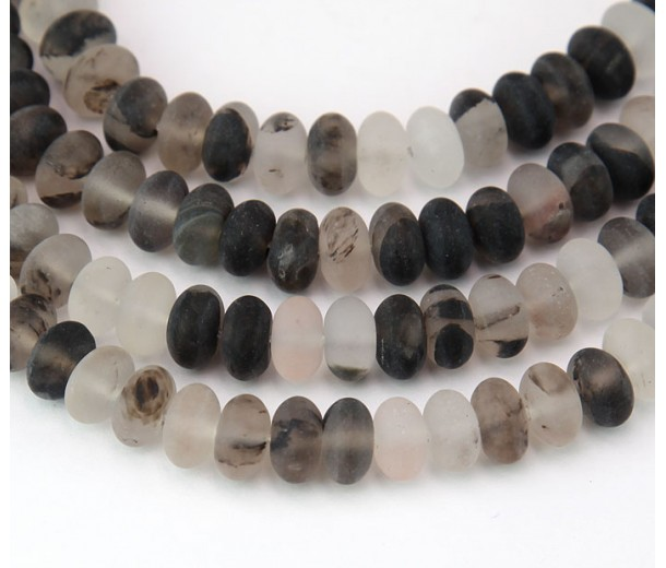 Matte Imitation Tourmalinated Quartz Beads, 5x8mm Smooth Rondelle