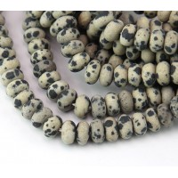Matte Dalmatian Jasper Beads, Natural, 5x8mm Smooth Rondelle