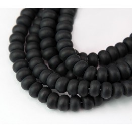 Matte Black Agate Beads, 5x8mm Smooth Rondelle