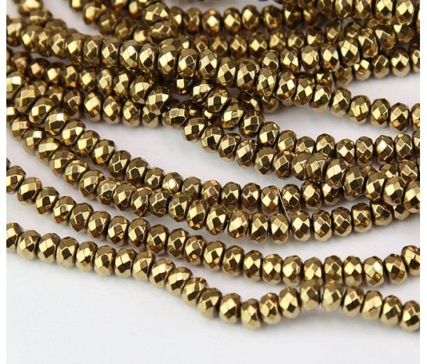 Hematite Beads, Bright Gold, 3x4mm Faceted Rondelle