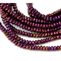 Matte Hematite, Purple Gold, 2x4mm Faceted Rondelle