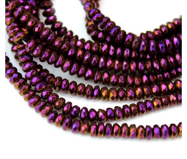 Matte Hematite, Purple Gold, 2x4mm Faceted Rondelle