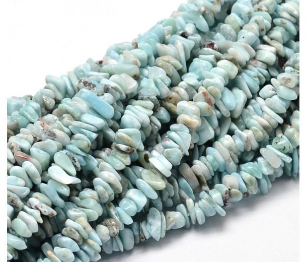 Larimar Beads, Light Teal, Small Chip