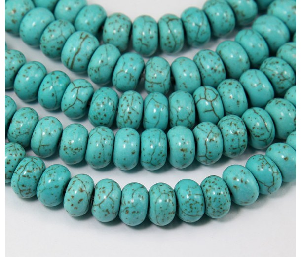 Magnesite Beads, Light Blue, 8x5mm Smooth Rondelle