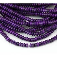 Imitation Turquoise Beads, Purple, 4x3mm Smooth Rondelle