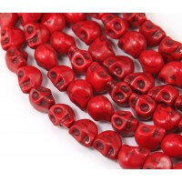 Howlite Beads, Red, 9mm Skull