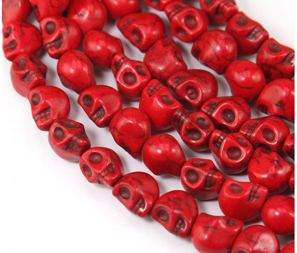 Howlite Beads, Red, 12mm Skull
