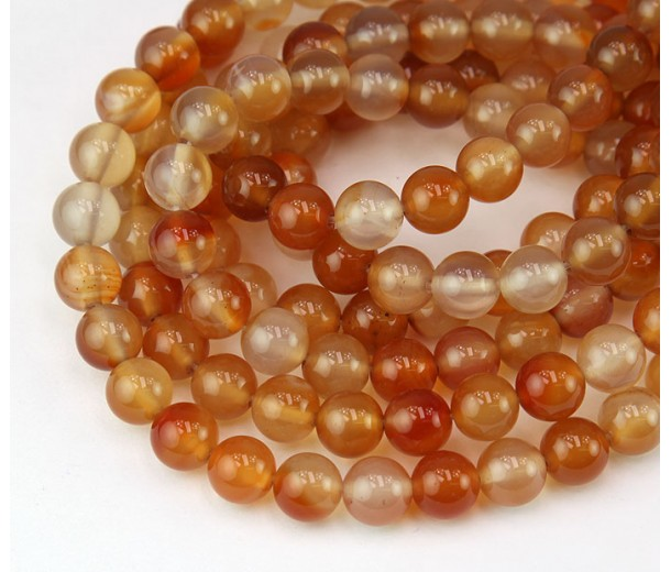 Carnelian Beads, Natural, 6mm Round