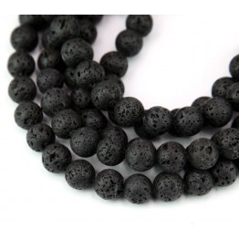 Lava Rock Waxed Beads, Black, 8mm Round