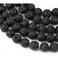 Lava Rock Waxed Beads, Black, 10mm Round