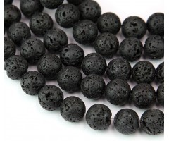 Natural Lava Rock Beads, Black, 10mm Round