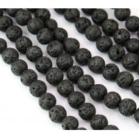 Lava Rock Waxed Beads, Black, 8mm Round..
