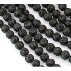 Natural Lava Rock Beads, Black, 8mm Round