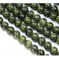 Russian Serpentine Beads, Grass Green, 10mm Round