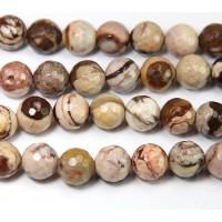 Zebra Jasper Beads, 8mm Faceted Round