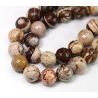 Zebra Jasper Beads, 10mm Faceted Round
