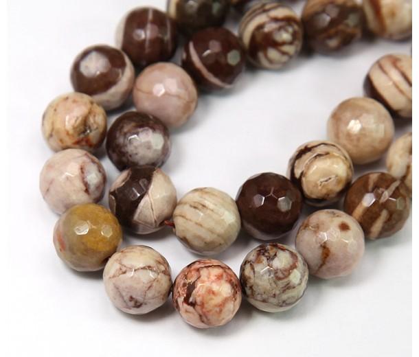 Zebra Jasper Beads, Natural, 10mm Faceted Round