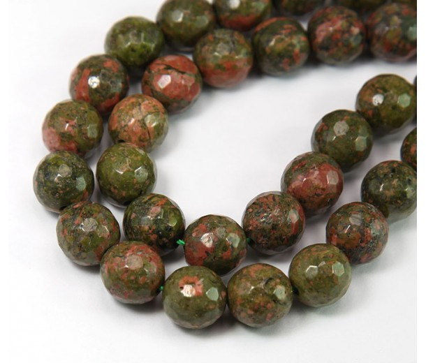 Unakite Beads, 10mm Faceted Round, 15 inch strand