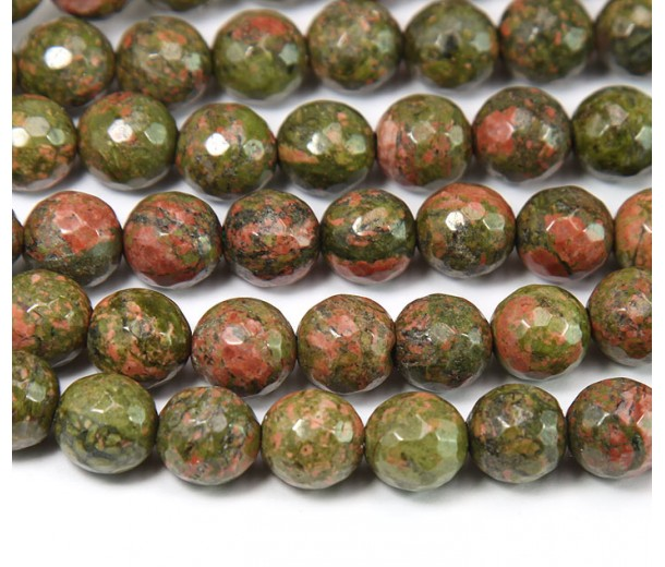 Unakite Beads, 8mm Faceted Round