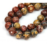 Leopard Skin Jasper Beads, 10mm Faceted Round