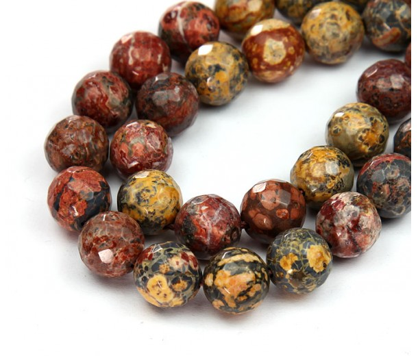 Leopard Skin Jasper Beads, 8mm Faceted Round