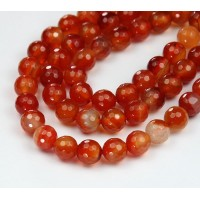 Carnelian Beads, 8mm Faceted Round