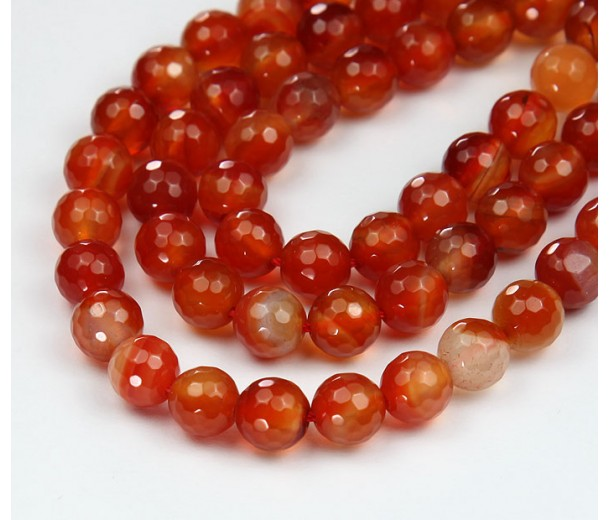 Carnelian Beads, Natural, 10mm Faceted Round