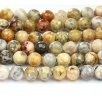 Crazy Lace Agate Beads, Yellow, 10mm Faceted Round
