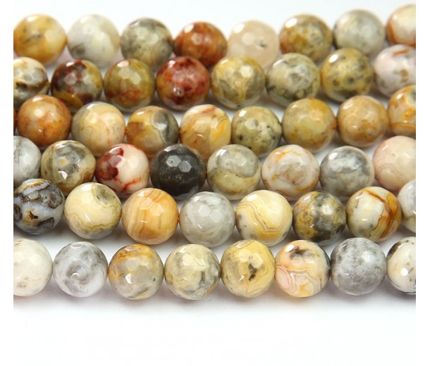 Crazy Lace Agate Beads, Natural Yellow, 10mm Faceted Round
