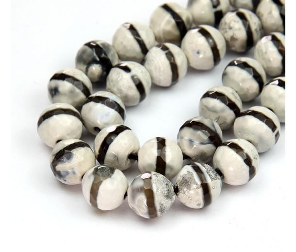 Dzi Agate Beads, Beige Dark Stripe, 10mm Faceted Round