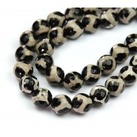 Dzi Agate Beads, Black and Beige, 10mm Faceted Round