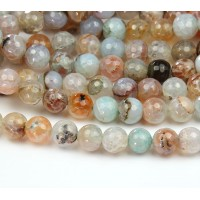 Fire Crackle Agate Beads, Beige Teal Mix, 10mm Faceted Round